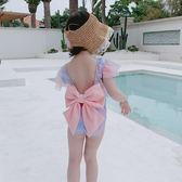 兒童泳衣兒童泳衣女孩連體公主裙式游泳衣亮閃片美人魚度假寶寶女童蝴蝶結 嬡孕哺