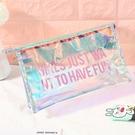 ins少女透明化妝包韓版簡約PVC鐳射果凍包女學生筆袋收納洗漱包女 檸檬衣舍