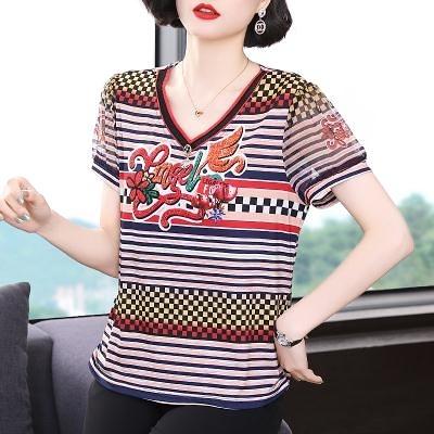M-4XL胖妹妹大碼短T~寬松遮肚短袖女胖mm減齡洋氣上衣大碼女裝條紋T恤NE335莎菲娜