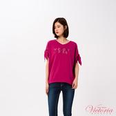Victoria LOGO縫珠袖綁帶寬鬆短袖T-女-V85441