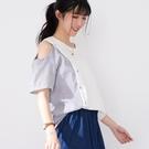 【慢。生活】露肩拼接造型休閒上衣 2103  FREE 白色