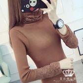 針織衫 秋冬高領女加厚短款修身套頭長袖螺紋秋女毛衣