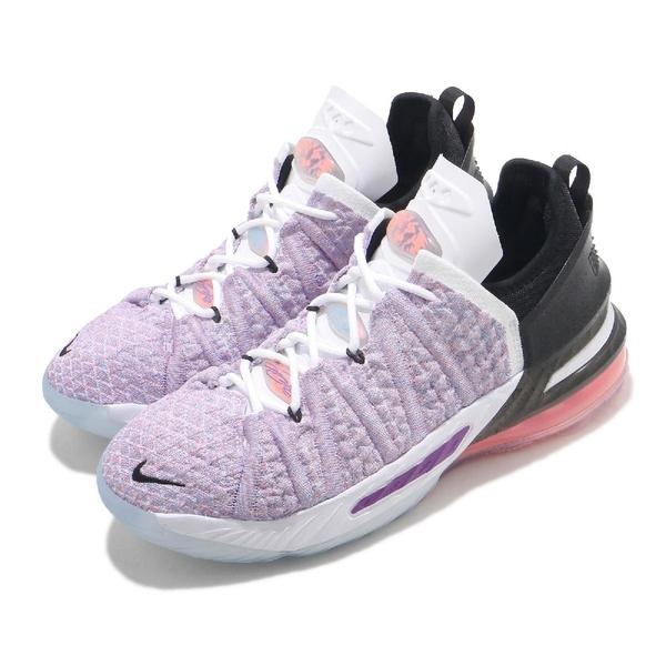 Nike 籃球鞋 Lebron XVIII GS 紫 白 大童鞋 女鞋 18代 LBJ 編織 氣墊 運動鞋 【ACS】 CW2760-900