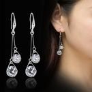 復古風S925銀水晶水滴時尚掛鉤耳環女個性防過敏勾耳墜 萬客居