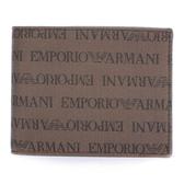 EMPORIO ARMANI經典LOGO繡紋零錢短夾(棕色)102103-2