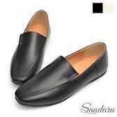 樂福鞋 超軟皮革微方頭摺線平底鞋-黑