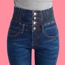 窄管褲 高腰牛仔褲女長褲大碼鬆緊腰彈力收...