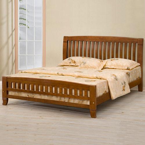 YoStyle 亞倫實木床架-5尺雙人床架(樟木色) 床台 床架 實木 床組 專人配送