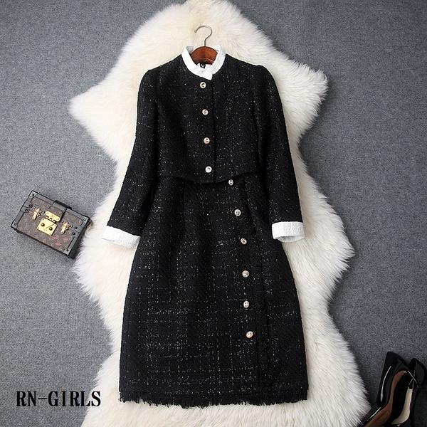 (現貨+預購 RN-girls)-時尚精品粗花呢短外套+高腰背心裙流蘇裙邊兩件式套裝