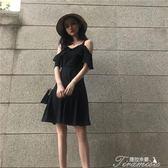 性感吊帶一字肩雪紡洋裝氣質顯瘦赫本小黑裙imiss裙子超仙女夏 提拉米蘇