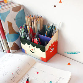 INJOY Mall【S108067】韓國文具Monopoly Paper Pencil Box 方形Q版公仔收納盒(Funny Face)