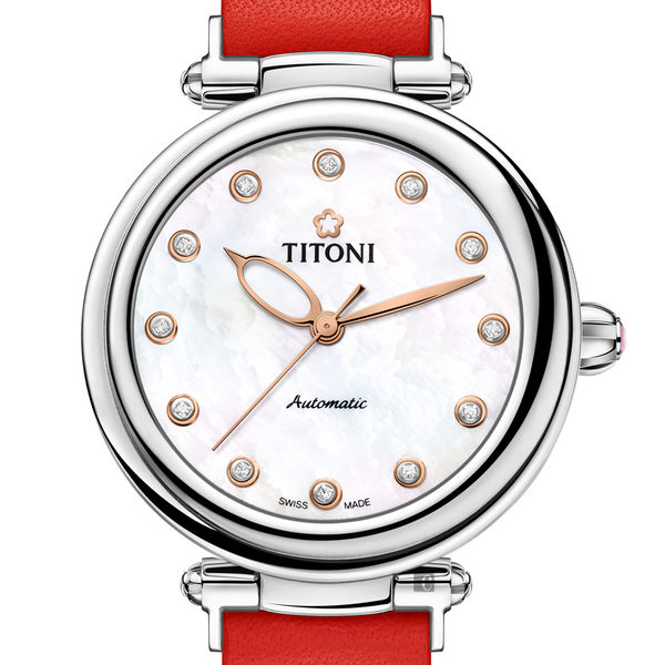 TITONI 梅花錶 炫美時尚之約械錶女錶-珍珠貝x紅錶帶/33.5mm 23978S-STR-622