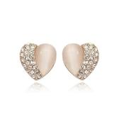 耳環 玫瑰金純銀鑲鑽-唯美浪漫生日情人節禮物女耳針73gt144【時尚巴黎】