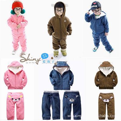 【TZ126】shiny藍格子-加厚冬款套裝外貿童裝羊羔絨小熊二件套裝