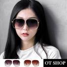 OT SHOP 太陽眼鏡 復古 時尚 中性 漸層鏡面 金屬大框 抗UV 漸層黑/漸層茶 現貨 U64
