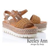★2019春夏★Keeley Ann簡約一字帶 牛皮編織厚底涼鞋(棕色) -Ann系列