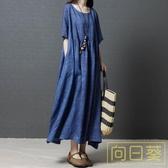 大碼洋裝 棉麻洋裝2019夏季新款文藝民族風女裝寬鬆大碼顯瘦亞麻復古長裙