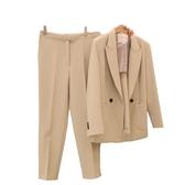 西裝套裝含外套+長褲(兩件套)-春夏純色翻領韓版女西服3色73xs1【巴黎精品】