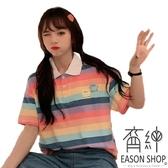 EASON SHOP(GW6793)實拍撞色橫條紋卡通小熊刺繡翻領POLO衫長版前排釦短袖棉T恤女上衣服落肩寬鬆內搭