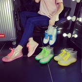 店長推薦▶時尚雨鞋果凍加絨成人透明保暖雨靴膠鞋防水鞋防滑韓國學生女短