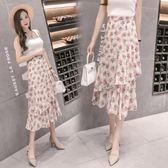 半身裙 2018新款雪紡印花中長款度假裙半身裙子 GB560『優童屋』