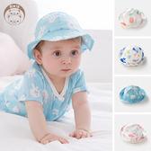嬰兒帽嬰兒遮陽帽棉質紗布女寶寶帽子夏季防曬帽薄太陽帽紗布漁夫帽男