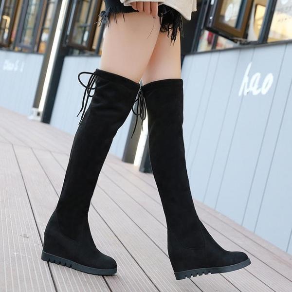 內增高彈力膝上靴秋冬新款長靴顯瘦厚底長筒靴圓頭超高跟女靴ATF  英賽爾