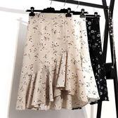 不規則印花雪紡半身裙女夏新款韓版高腰小碎花中長款魚尾裙春 GB4057『MG大尺碼』