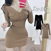 克妹Ke-Mei【ZT70517】韓國東大門外銷單!性感低胸V領口袋連身洋裝