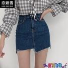 牛仔短裙 不規則牛仔裙半身裙女夏季2021新款高腰顯瘦學生a字包臀裙子短裙寶貝計畫 上新