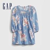 Gap嬰兒 時尚花卉圓領長袖洋裝 636323-藍色花紋