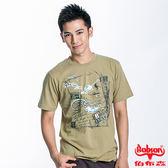 BOBSON 男款繩結印圖短袖上衣(黃綠23024-30)