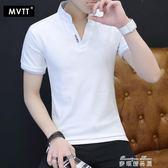 純棉t恤男短袖新款男裝半袖體恤打底衫男v領polo衫白色上衣服   麥琪精品屋