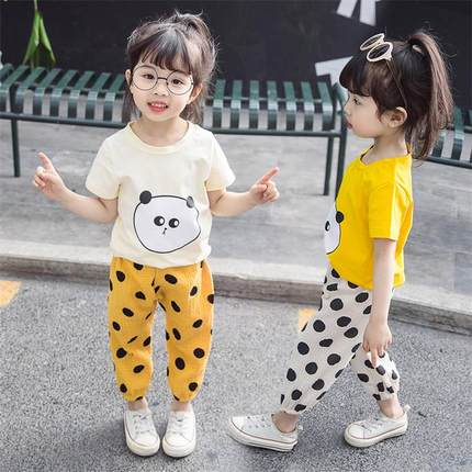 2021女童套裝1-5歲童裝兒童夏季洋氣春裝女寶寶衣服網紅夏裝新款純棉兩件套時尚個性