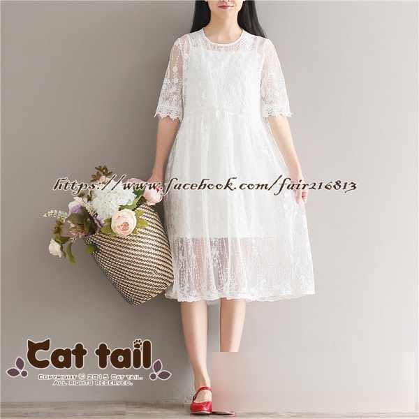 《貓尾巴》JP-0806 小清新蕾絲兩件套短袖連身裙(森林系 日系 棉麻 文青 清新)