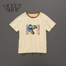 Queen Shop【01037649】親子系列 恐龍撞色領棉T 1/2/3/4*現+預*