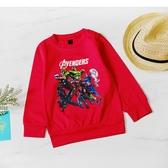 美式英雄卡通長袖上衣 紅色 T恤 薄長袖 男童長袖 男童裝 男童上衣 童裝 防曬 秋冬 卡通 童裝