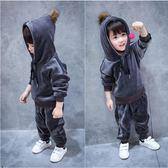 男童套裝 男童加絨套裝4兒童秋冬季加厚衛衣兩件套女孩運動服金絲絨 米蘭街頭