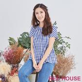 【RED HOUSE 蕾赫斯】格紋拼接上衣(藍色)