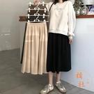 半身裙女秋冬裙子高腰A字裙中長款氣質長裙...
