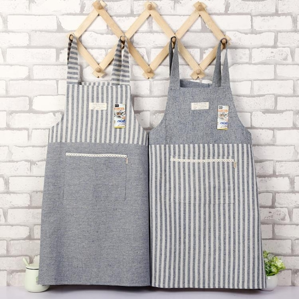 圍裙 日式棉麻家用廚房圍裙防油成人做飯罩衣工作服咖啡店服文藝圍裙