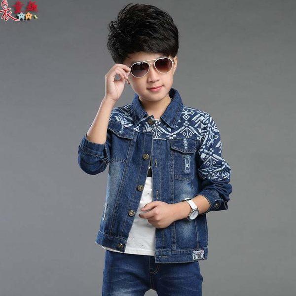 衣童趣 ♥男童 新款印花牛仔 百搭外套 帥氣鈕扣時尚 長袖外套 熱賣款