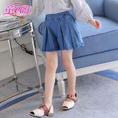 女童牛仔短褲18新款春夏裝韓版熱褲裙褲女孩百褶鬆緊腰褲子潮