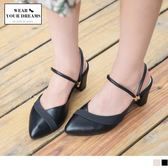 《SD0159》台灣製造~異材質拼接仿皮革雙環粗跟涼鞋/拖鞋 OrangeBear