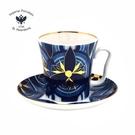 俄羅斯Imperial Porcelain-藍調系列-藍調圖騰22K金手工-350ml馬克杯盤組