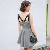 限時38折 韓系時尚氣質格子鏤空性感修身吊帶無袖洋裝