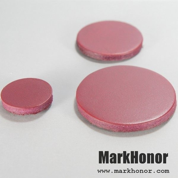 磁鐵 真皮 皮革 酒紅 圓直徑3公分 10個-Mark Honor