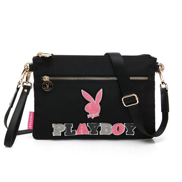 PLAYBOY-  斜背包附手挽帶 毛毛兔系列-黑色