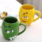 M豆杯情侶創意陶瓷杯錶情卡通咖啡杯大容量喝水杯帶蓋勺
