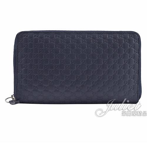 茱麗葉精品【全新現貨】GUCCI 391465 經典小雙G LOGO 護照寬版拉鍊長夾.深藍